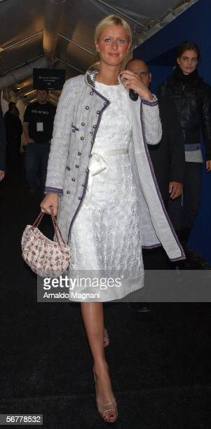 Niki Hilton leaves the Luca Luca fashion show at Bryant Park February 7 2006 in New York City
