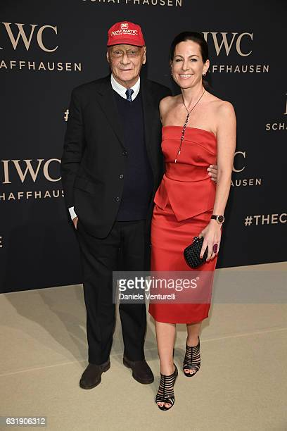 Niki Lauda and Birgit Lauda arrive at IWC Schaffhausen at SIHH 2017 Decoding the Beauty of Time Gala Dinner on January 17 2017 in Geneva Switzerland