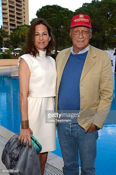 Niki Lauda and Birgit Lauda attend the Amber Lounge Fashion Monaco 2015 on May 22 2015 in Monaco Monaco