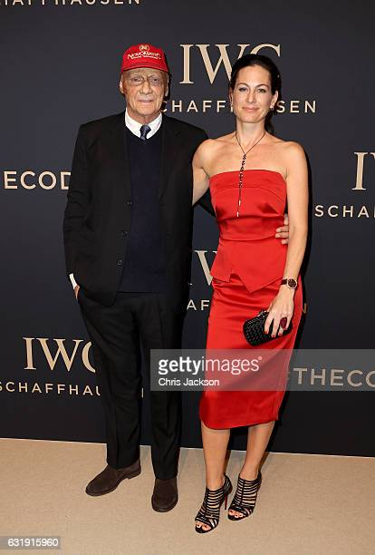 Niki Lauda and Birgit Lauda attend the IWC Schaffhausen Decoding the Beauty of Time Gala Dinner during the launch of the Da Vinci Novelties from the...
