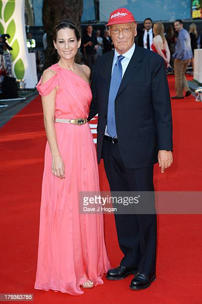 Niki Lauda and Birgit Lauda attend the Rush world premiere at The Odeon Leicester Square on September 2 2013 in London England