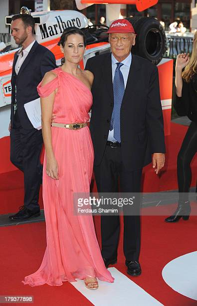 Niki Lauda and Birgit Lauda attend the World Premiere of Rush at Odeon Leicester Square on September 2 2013 in London England