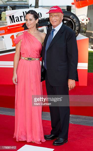 Niki Lauda and Birgit Lauda attends the World Premiere of Rush at Odeon Leicester Square on September 2 2013 in London England