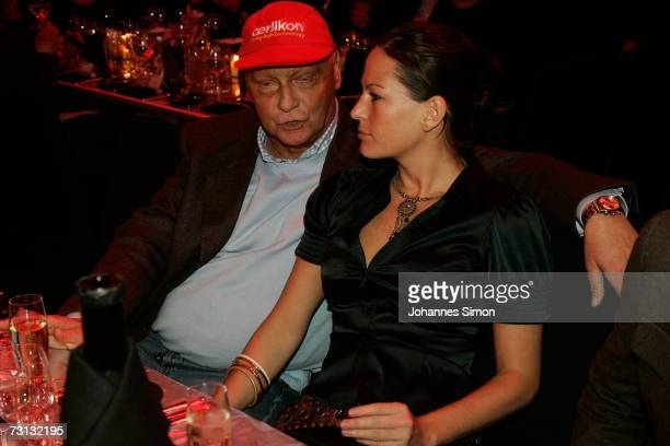 Niki Lauda and girlfriend Brigit Wetzinger attend the Kitzrace Party January 27 in Kitzbuehel Austria
