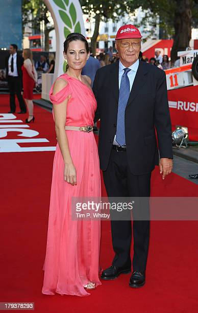 Niki Lauda and wife Birgit attend the Rush World Premiere at Odeon Leicester Square on September 2 2013 in London England