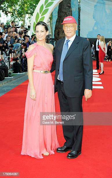Niki Lauda and wife Birgit Lauda attend the World Premiere of 'Rush' at Odeon Leicester Square on September 2 2013 in London England