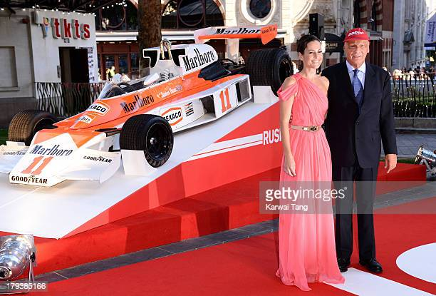 Niki Lauda and wife Birgit Lauda attend the World Premiere of Rush at the Odeon Leicester Square on September 2 2013 in London England