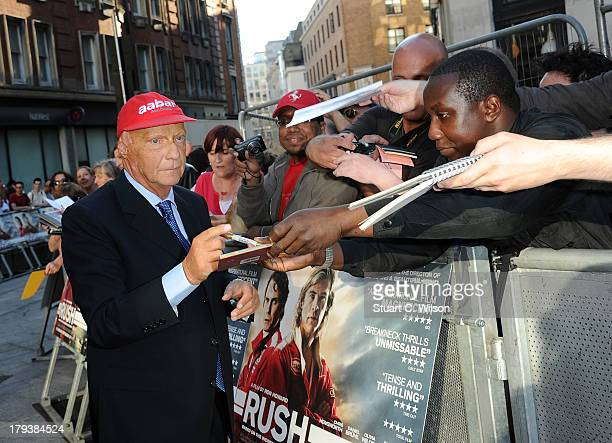 """Niki Lauda attends the """"Rush"""" World Premiere at Odeon Leicester Square on September 2, 2013 in London, England."""