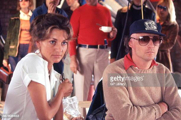 Niki Lauda Austrian racing driver who won the Formula 1 World Championship 3 times in 1975 1977 and 1984 Photographed with his wife Marlene in the...
