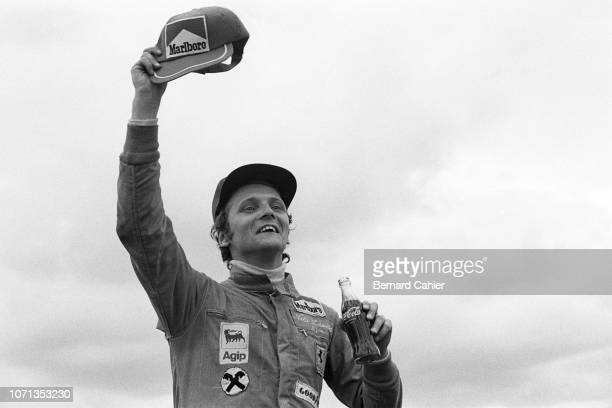 Niki Lauda Ferrari 312B374 Grand Prix of Spain Circuito del Jarama 28 April 1974 Niki Lauda celebrating his first Formula One Grand Prix victory for...