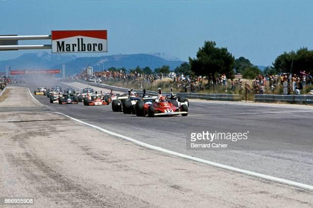 Niki Lauda Ferrari 312T Grand Prix of France Circuit Paul Ricard 06 July 1975 Niki Lauda leads at the start of the 1975 Grand Prix of France in Paul...