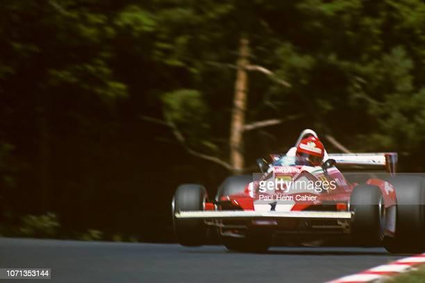 Niki Lauda, Ferrari 312T2, Grand Prix of Germany, Nurburgring, 01 August 1976. Niki Lauda in the air as his Ferrari passes over a bump during...
