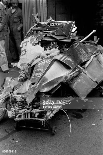 Niki Lauda Ferrari 312T2 Grand Prix of Germany Nurburgring 01 August 1976 The remnants of Niki Lauda's Ferrari after the accident that nearly cost...