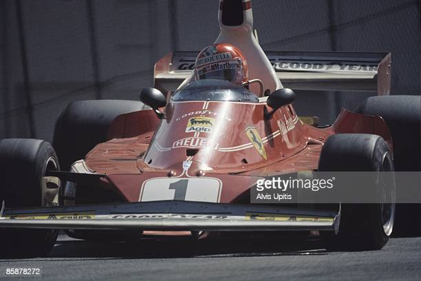 Niki Lauda in a Ferrari 312T at the first United States Grand Prix West held on March 28 1976 in Long Beach California