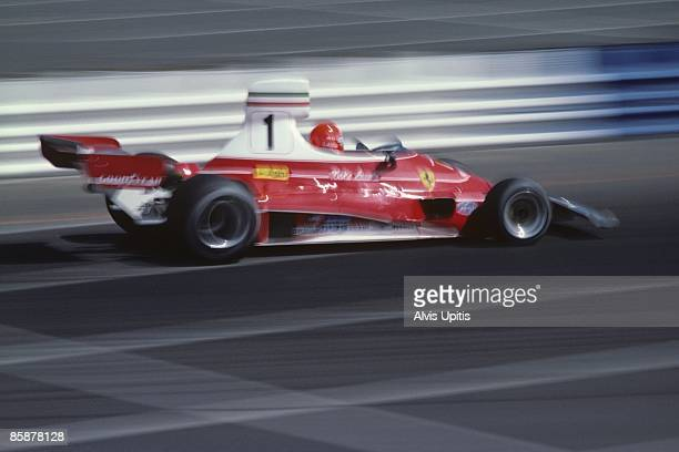 Niki Lauda in the Ferrari 312T at the first United States Grand Prix West held on March 28 1976 in Long Beach California