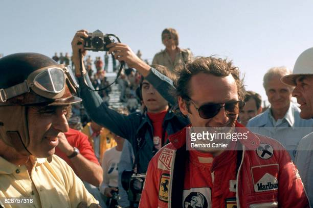 Niki Lauda Juan Manuel Fangio Phil Hill Grand Prix of the United States West Long Beach 10 October 1976 Three Ferrari World Champions Juan Manuel...