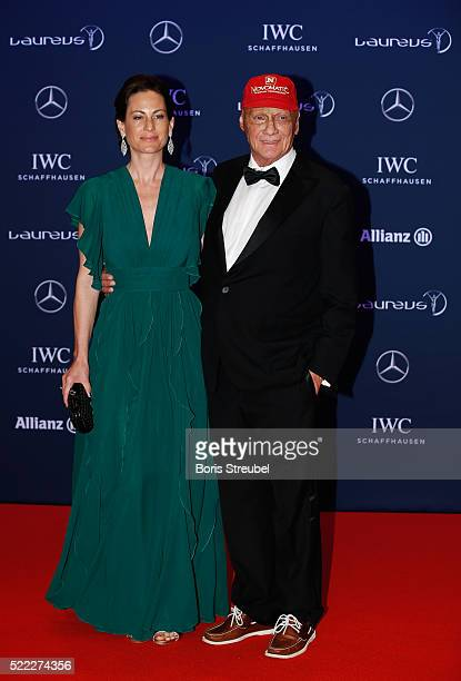 Niki Lauda MercedesBenz Motorsport NonExecutive Chairman and guest attend the 2016 Laureus World Sports Awards at Messe Berlin on April 18 2016 in...