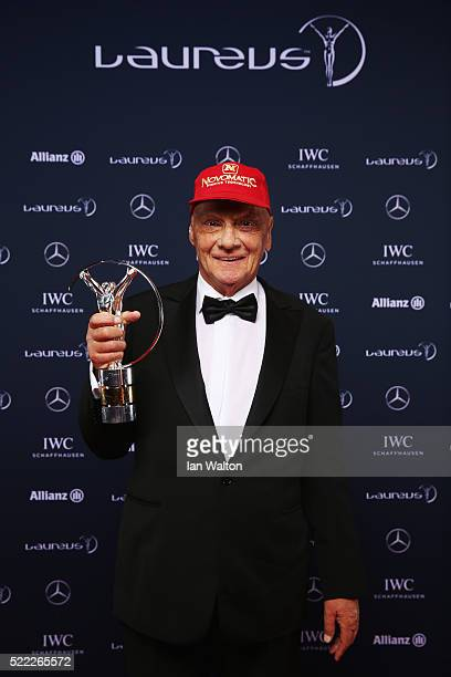 Niki Lauda MercedesBenz Motorsport NonExecutive Chairman attends the 2016 Laureus World Sports Awards at Messe Berlin on April 18 2016 in Berlin...