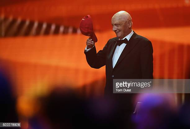 Niki Lauda MercedesBenz Motorsport NonExecutive Chairman on stage takes his cap off after the announcement of his Laureus Lifetime Achievement Award...
