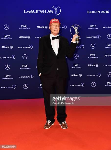 Niki Lauda MercedesBenz Motorsport NonExecutive Chairman with his Laureus Lifetime Achievement Award award during the winners photocall during the...