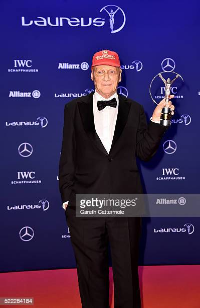 Niki Lauda MercedesBenz Motorsport NonExecutive Chairman with his Laureus Lifetime Achievement Award award during the winners photocall during the...