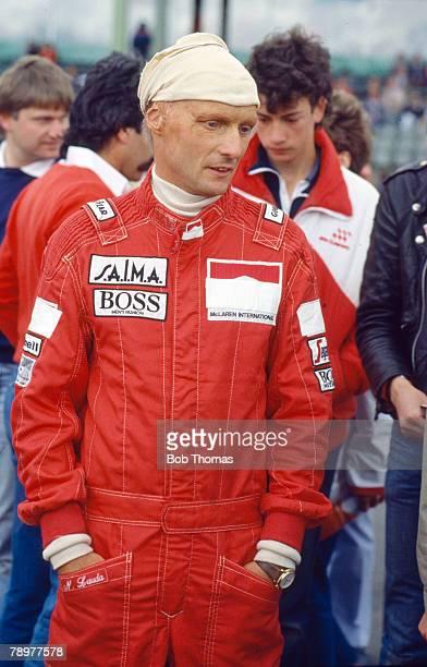Niki Lauda of Austria driver of the Marlboro McLaren International McLaren MP4/2B TAG TTE PO1 15 V6t pictured during the 1985 British Grand Prix at...