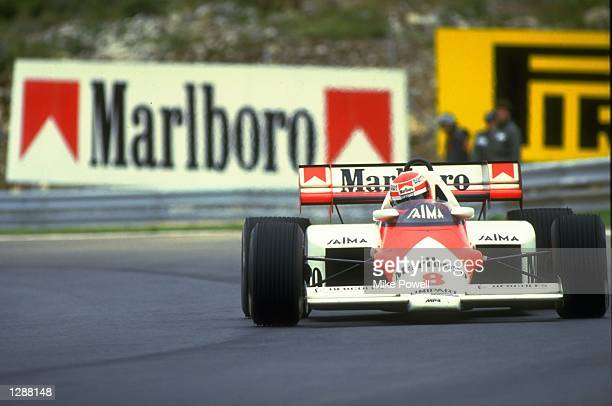 Niki Lauda of Austria in action in his McLaren TAG during the Portuguese Grand Prix at the Estoril circuit in Portugal. Lauda finished in second...