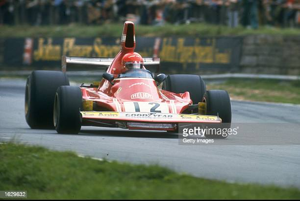 Niki Lauda of Austria in action in his Scuderia Ferrari during the British Grand Prix at the Brands Hatch circuit in England Lauda finished in fifth...