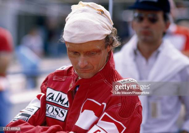 Niki Lauda of Austria pictured after winning the British Grand Prix at Brands Hatch in England driving a McLaren MP4/2 with a TAG TTE PO1 15 V6t...
