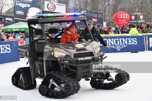 Niki Lauda sits behind the wheel of a snowmobil during the KitzCharityTrophy on January 20 2018 in Kitzbuehel Austria