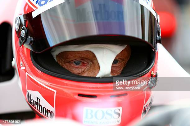 Niki Lauda sits in a car on track after qualifying for the Formula One Grand Prix of Austria at Red Bull Ring on June 20 2015 in Spielberg Austria
