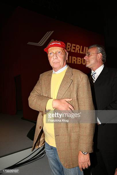 Niki Lauda When 'Fly Into The Sunshine' Air Berlin media meeting in Hangar 2 In the Event Center Tempelhof Airport in Berlin