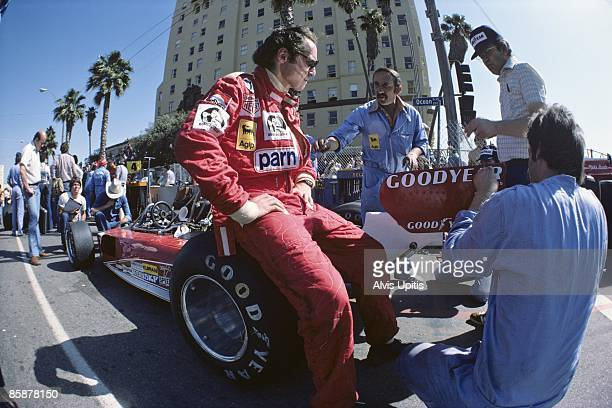 Niki Lauda with the Ferrari 312T at the first United States Grand Prix West held on March 28 1976 in Long Beach California