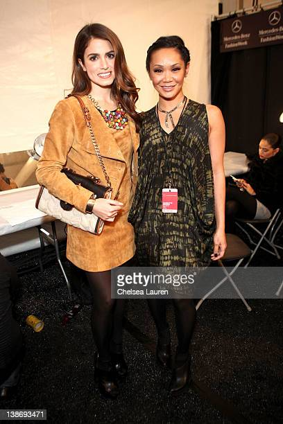 Niki Reed and Jeanie Syfu attend backstage at the Charlotte Ronson Fall 2012 fashion show during MercedesBenz Fashion Week at The Stage at Lincoln...