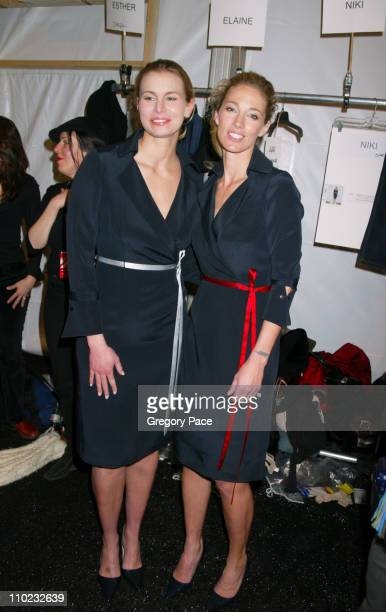 Niki Taylor and Elaine Irwin Mellencamp during Olympus Fashion Week Fall 2005 Richard Tyler Backstage and Front Row at Bryant Park Tents in New York...
