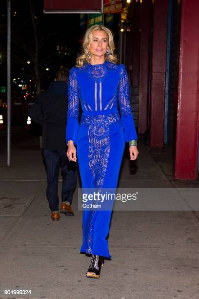 Niki Taylor is seen wearing a Tadashi Shoji dress with Rodarte shoes and De Grisogono jewelry in Chelsea on January 14 2018 in New York City