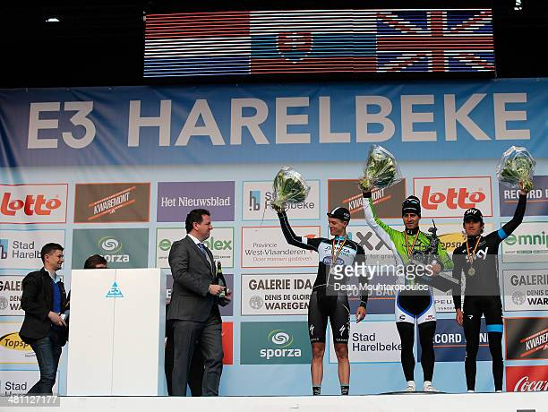 Niki Terpstra of The Netherlands, Peter Sagan of Slovakia and Geraint Thomas of Great Britain pose after the E3 Harelbeke Cycle Race on March 28,...