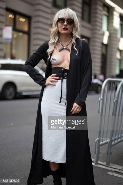 Nikia Provenzano is seen attending Banana Republic x Olivia Palermo during New York Fashion Week wearing Revolve NBD Barbara Pellegrino Hours on...