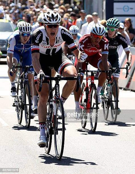 Nikias Arndt of Germany and Team Sunweb crosses the line to win during the 2017 Cadel Evans Great Ocean Road Race on January 29, 2017 in Geelong,...