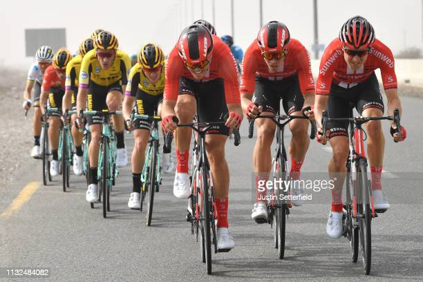 Nikias Arndt of Germany and Team Sunweb / Haga Chad of United States and Team Sunweb / during the 5th UAE Tour 2019, Stage 4 a 197km stage from Palm...