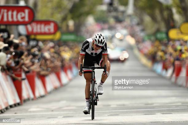 Nikias Arndt of Germany riding for Team Sunweb crosses the line to finish second on stage nineteen of the 2017 Tour de France, a 222.5km stage from...