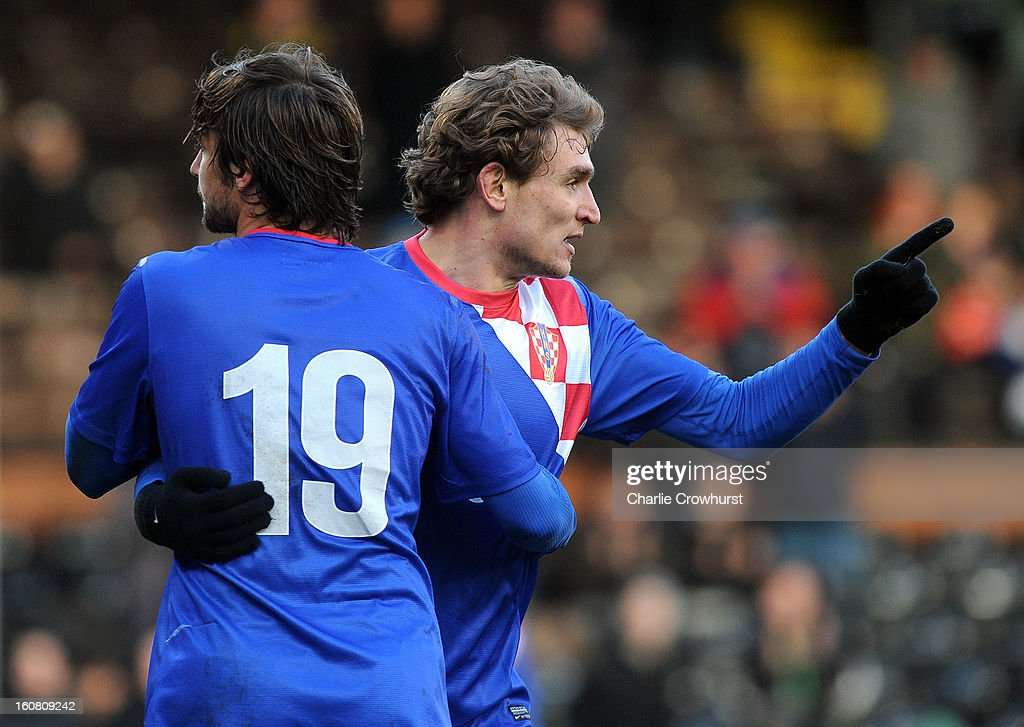 Nikica Jelavic of Croatia celebrates after scoring during the International Friendly match between Croatia and Korea Republic at Craven Cottage on February 6, 2013 in London, England.