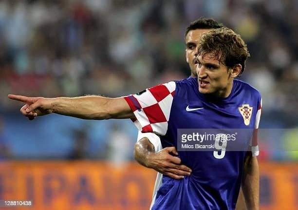 Nikica Jelavic of Croatia gestures during the UEFA Euro 2012 Qualifying round group F match between Greece and Croatia at the Georgios Karaiskakis...