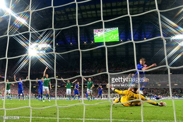 Nikica Jelavic of Croatia scores their second goal past Shay Given of Republic of Ireland during the UEFA EURO 2012 group C between Ireland and...