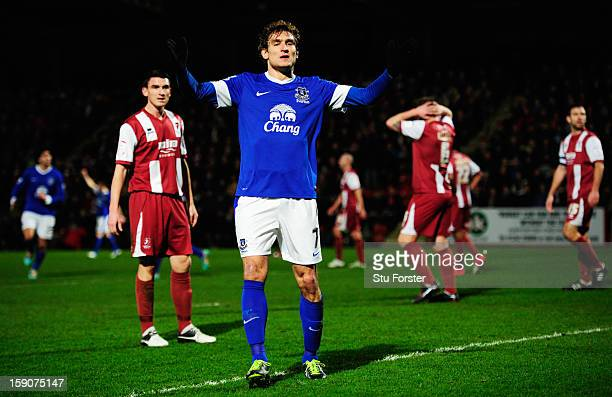 Nikica Jelavic of Everton celebrates as he scores their first goal during the FA Cup with Budweiser Third Round match between Cheltenham Town and...