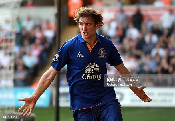 Nikica Jelavic of Everton celebrates scoring the second goal during the Barclays Premier League match between Swansea City and Everton at the Liberty...