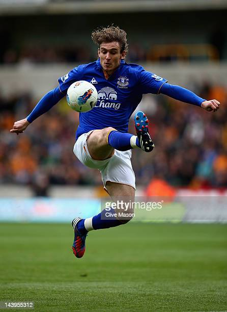Nikica Jelavic of Everton in action during the Barclays Premier League match between Wolverhampton Wanderers and Everton at Molineux on May 6 2012 in...