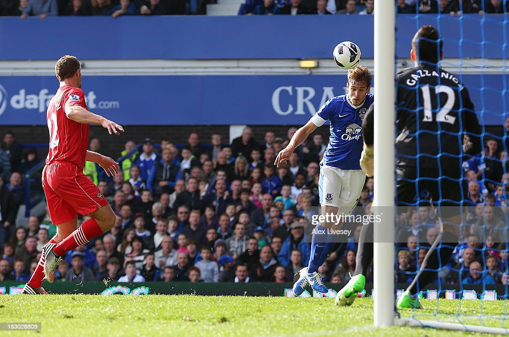 Nikica Jelavic of Everton scores his second goal during the Barclays Premier League match between Everton and Southampton at Goodison Park on September 29, 2012 in Liverpool, England.