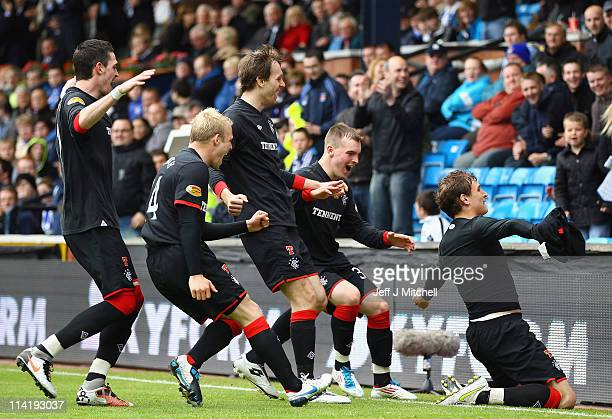 Nikica Jelavic of Rangers celebrates after scoring during the Clydesdale Bank Premier League match between Kilmarnock and Rangers at Rugby Park on...