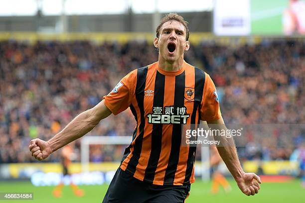 Nikica Jelevic of Hull City celebrates after scoring his team's second goal during the Barclays Premier League match between Hull City and Crystal...
